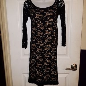 GUESS Tan Lining Black Lace Dress